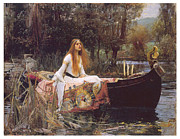 Woman In A Dress Prints - The Lady of Shallot Print by John William Waterhouse