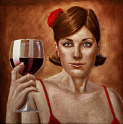 Wine Woman  Paintings - The Lady Red by Mark Zelmer