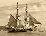 Ship In Sepia Art - The Lady Washington Ship by Kym Backland