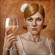 White Wine Paintings - The Lady White by Mark Zelmer