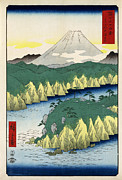 Block Prints Prints - The Lake in Hakone Print by Nomad Art And  Design