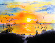 Ocean Shore Drawings Prints - The land of the dying sun Print by Nirdesha Munasinghe