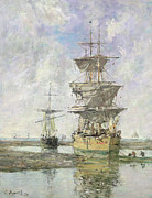 Big Skies Paintings - The Large Ship by Eugene Louis Boudin