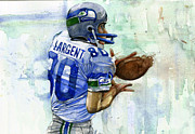 Pro Football Painting Framed Prints - The Largent Framed Print by Michael  Pattison