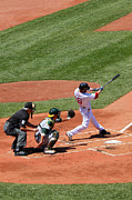 Action Photo Framed Prints - The Laser Show Dustin Pedroia Framed Print by Tom Prendergast