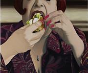 Burger Painting Prints - The Last Bite Print by Marcella Lassen
