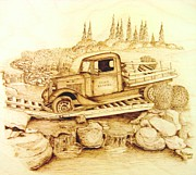 Truck Pyrography Prints - The Last Crossing Print by Roger Storey