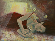 Butterflies Painting Prints - The last dream before dawn Print by Dorina  Costras