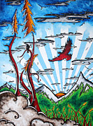 Surreal Art Paintings - THE LAST FRONTIER Original MADART Painting by Megan Duncanson