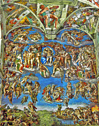 Michelangelo Mixed Media Posters - The Last Judgement Poster by Michelangelo