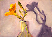 """indoor"" Still Life  Painting Posters - The Last Lily Poster by Nancy Merkle"