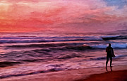 Laguna Beach Painting Prints - The Last Set Print by Michael Pickett