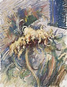 Expressionist Pastels - The Last Sunflower by Ellen Dreibelbis