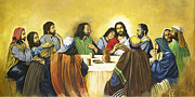 Jesus Art Painting Framed Prints - The Last Supper Framed Print by Ann Marie Campbell