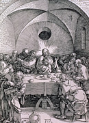 Last Supper Painting Framed Prints - The Last Supper from the Great Passion series Framed Print by Albrecht Duerer