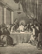 Bible Drawings Metal Prints - The Last Supper Metal Print by Antique Engravings
