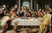 Table Cloth Metal Prints - The Last Supper Metal Print by Joan de Joanes