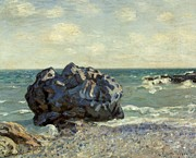 Wave Art Framed Prints - The Laugland Bay Framed Print by Alfred Sisley