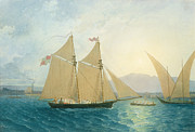 Calm Paintings - The Launch La Sociere on the Lake of Geneva by Francis  Danby