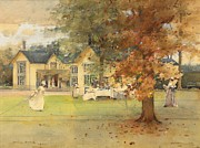 Country Life Painting Metal Prints - The Lawn Tennis Party Metal Print by Arthur Melville