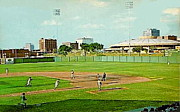 Baseball Stadiums Paintings - The Lawrence Baseball Stadium In Wichita Ks Around 1920 by Dwight Goss
