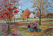 New England Village  Paintings - The Leaf Gatherers by Sherri Crabtree