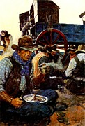 Wa Paintings - The Lee of the Grub Wagon by  N C Wyeth