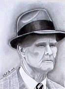 Pro Football Drawings Posters - The Legend Tom Landry Poster by William Cox