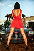 Leggy Posters - The leggy model and Maserati car Poster by Oleg Hmelnits