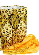Gold Necklace Prints - The Leopard Gift Bag Print by Diana Angstadt