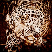 Leopard Pyrography Posters - The Leopards Hello Poster by Cynthia Adams