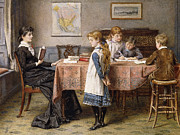 Sisters Metal Prints - The Lesson Metal Print by  George Goodwin Kilburne