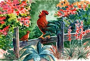 Old Fence Posts Painting Prints - The Lesson Print by Marilyn Smith