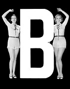 "Matching Outfits Framed Prints - The Letter ""B"" And Two Women Framed Print by Underwood Archives"