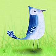 Bird Art - The Letter Blue J by Valerie  Drake Lesiak