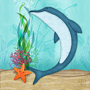 Illustrated Letter Framed Prints - The Letter D for Dolphin Framed Print by Valerie  Drake Lesiak