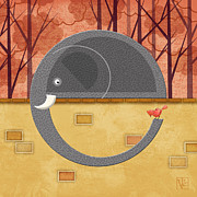 Illustrated Letter Prints - The Letter E for Elephant Print by Valerie  Drake Lesiak