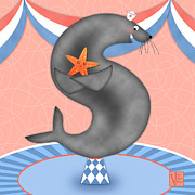 Children Rooms Prints Prints - The Letter S for Seal Print by Valerie  Drake Lesiak