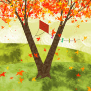 Autumn Scene Prints - The Letter V Print by Valerie  Drake Lesiak