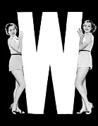 "Matching Outfits Prints - The Letter ""W"" And Two Women Print by Underwood Archives"