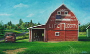 Patriotic Paintings - The Liberty Barn by Craig Shillam