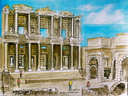 Library Paintings - The Library at Ephesus Turkey by Frank Hunter