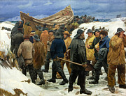 Famous Artists - The Lifeboat is Taken through the Dunes by Michael Ancher