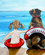 Girl Dog Framed Prints - The Lifeguard Framed Print by Patti Schermerhorn