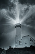Storm Digital Art Metal Prints - The Light House Metal Print by Svetlana Sewell