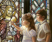 Jesus With Children Posters - The Light of Faith Poster by Sharon Lange