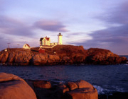 Maine Lighthouses Posters - The Light on the Nubble Poster by Skip Willits