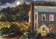 Full Moon Drawings Prints - The Light Over the Door Print by John  Williams