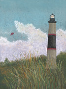 Sea Shore Pastels Framed Prints - The Lighthouse and the Kite Framed Print by Ginny Neece