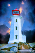 St Margaret Prints - The Lighthouse at Peggys Cove Print by John Haldane